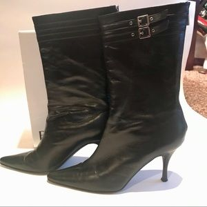 Banana Republic black leather heeled boots sz 10